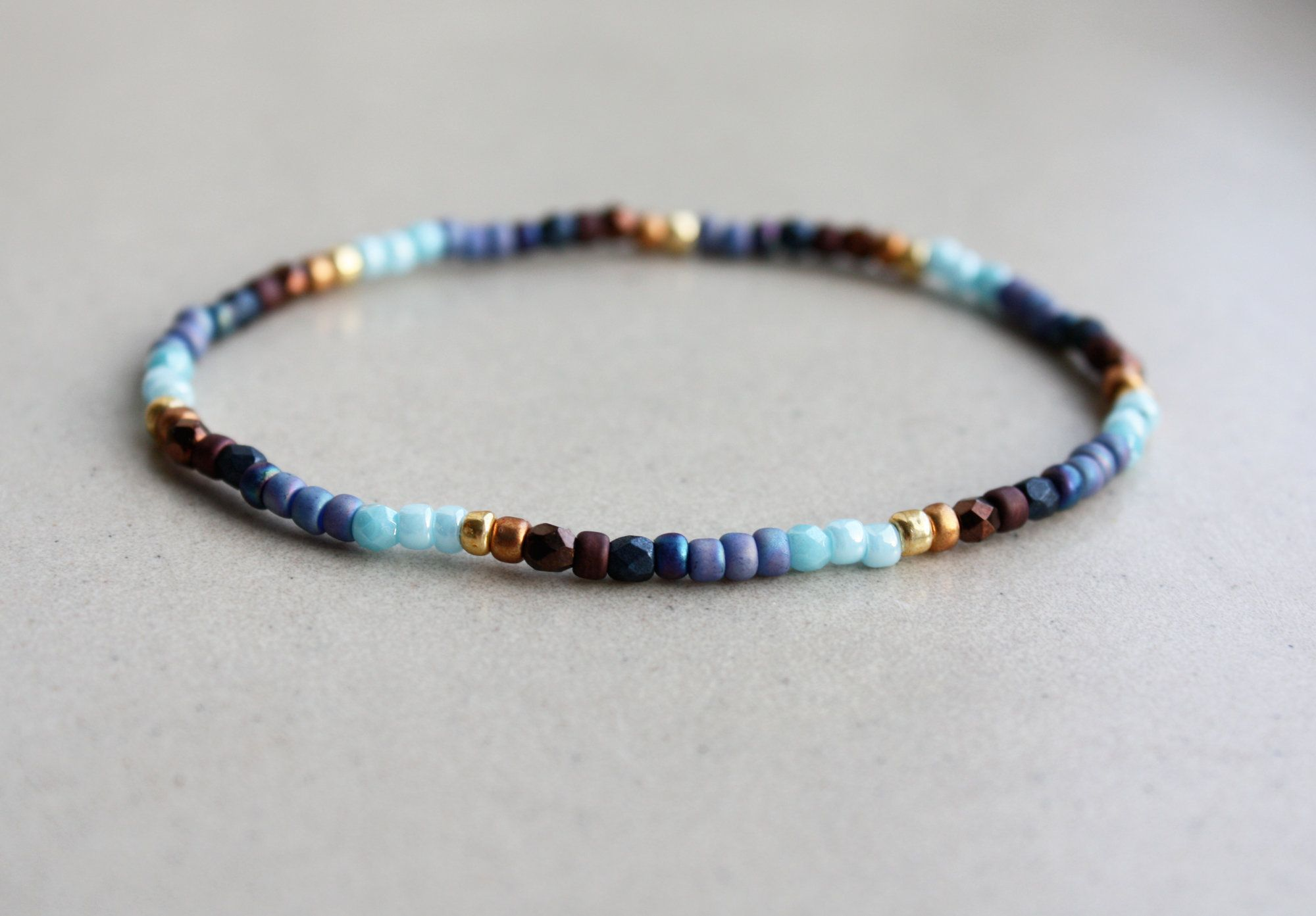 Kralenarmband Bruin & Blauw, Kralen Armbanden, Boho Style Sieraad, Kleine Cadeautjes Voor Beste Vriend, Zomer Accessoires