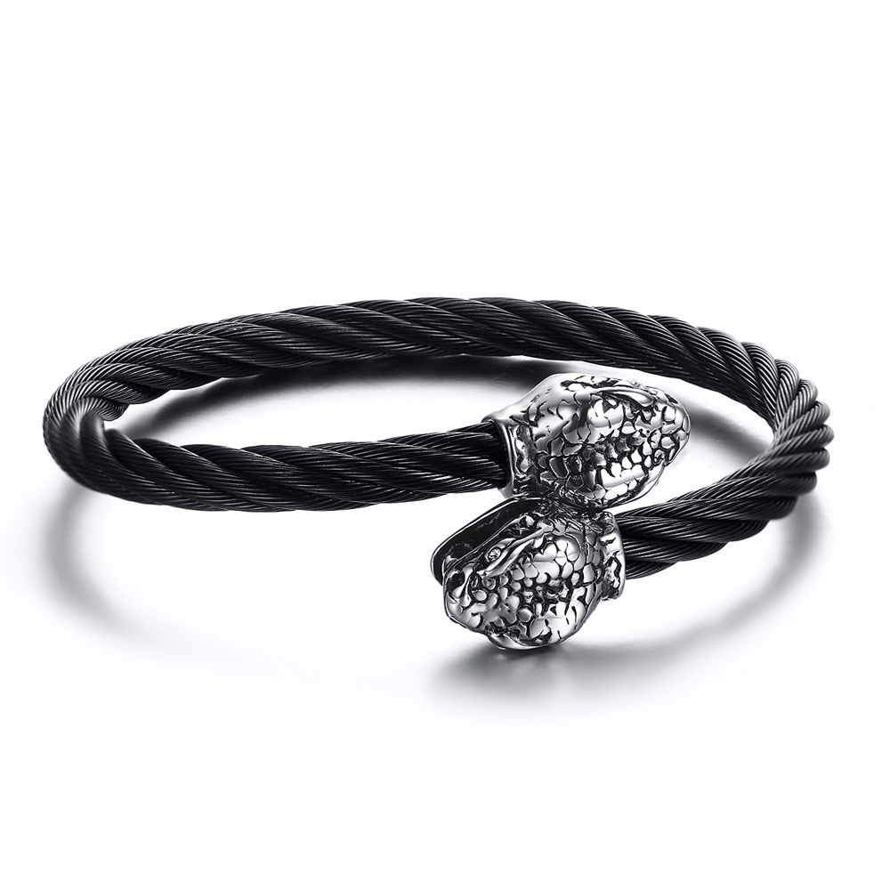 Mens Snake Head Bangle Stainless Steel Twisted Cable Cuff Bracelet Silver Black