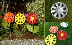 Re-purposing old hubcaps for garden decor!