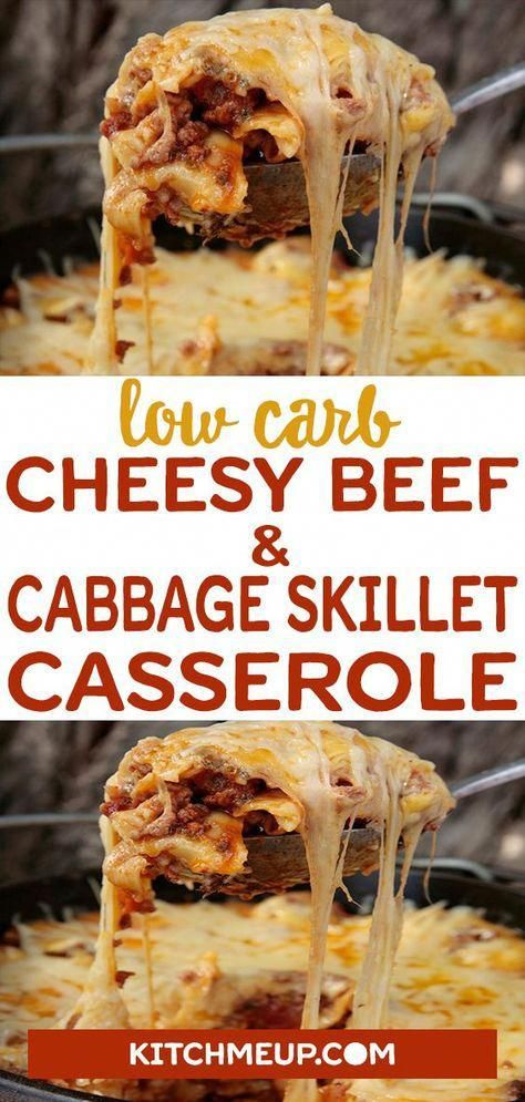 Low Carb Cheesy Beef  Cabbage Skillet Casserole