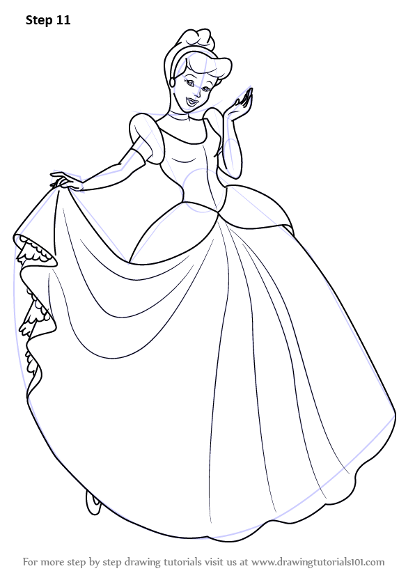 Learn How To Draw Princess Cinderella Cinderella Step By Step Drawing Tutorials Cinderella Coloring Pages Disney Princess Drawings Princess Drawings