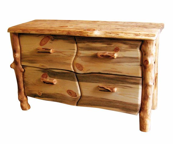 Wood Dresser Four Drawer Made From Sustainably Sourced Aspen Logs Eco Friendly Made Furniture From Naturally Aspen On Etsy 895 00 Woodworking Furniture Plans