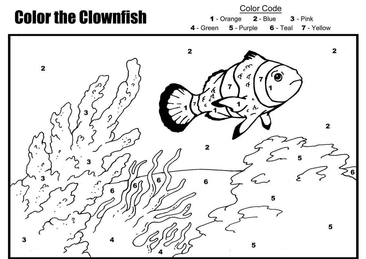 fish color by number coloring pages