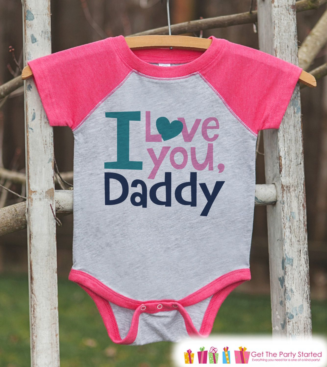42b312367f148 Girls Father's Day Outfit - Pink Raglan Shirt - I Love You Daddy - Happy  Fathers