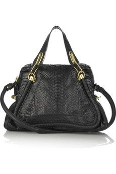 update your tote collection with this luxe black paraty python chloé style, it's an exotic update on a classic tote style which will work for day through afterdark. pair it with a LBD for dates!