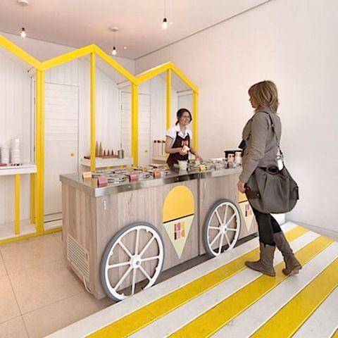 Tiny Ice Cream Interior Design With Cheerful Pin