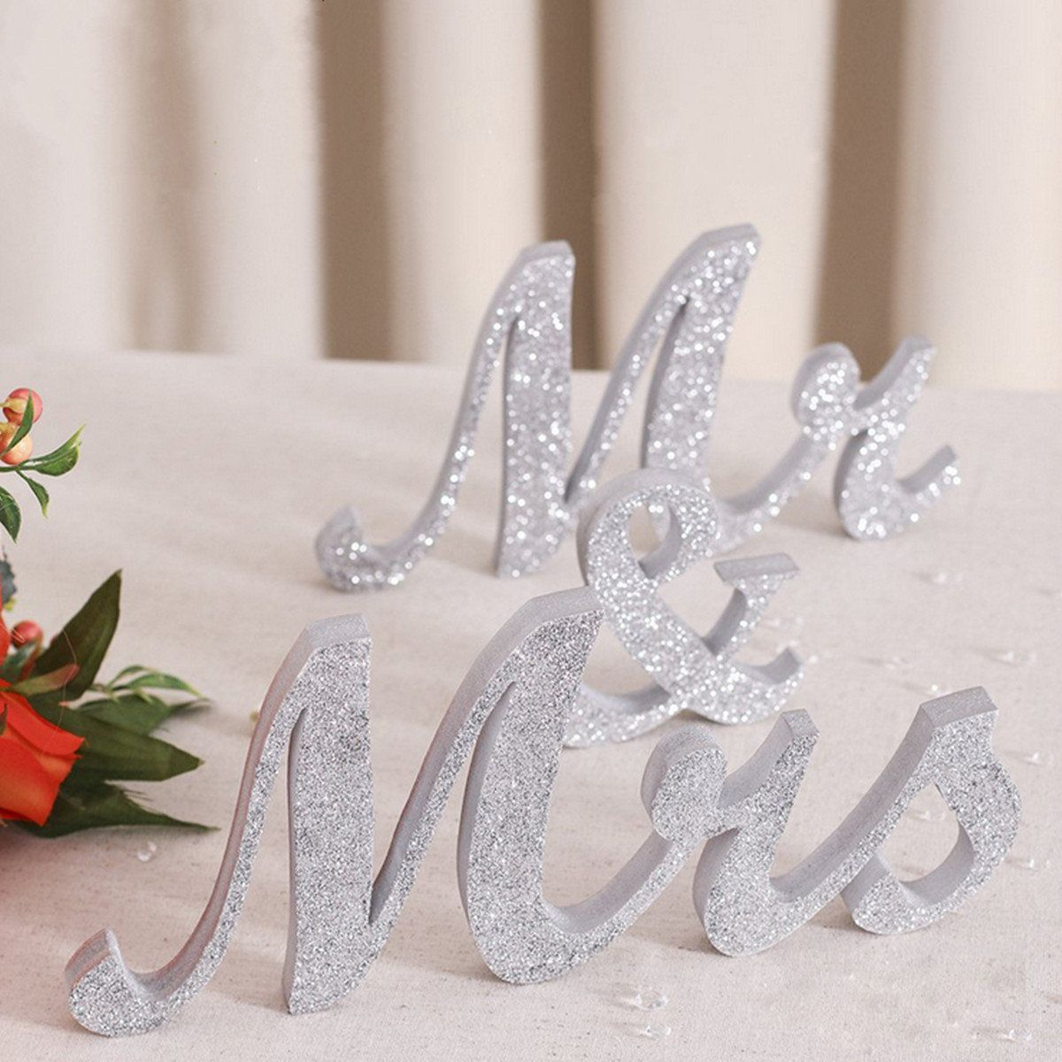 28CM MR&MRS Silver Shining Bling Wooden Letters Sign Table ...