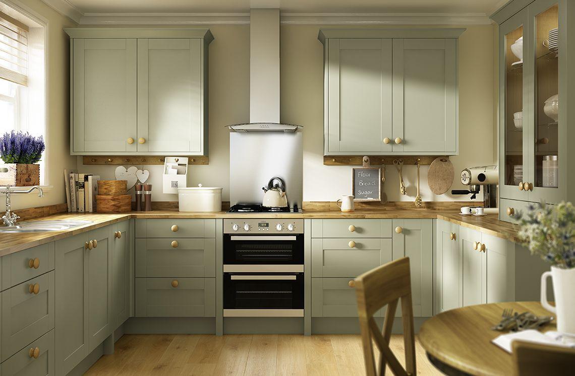 Image Result For Olive Green Cabinet And Dark Wood Worktop Kitchen Sage Green Kitchen Green Kitchen Cabinets Green Kitchen Walls