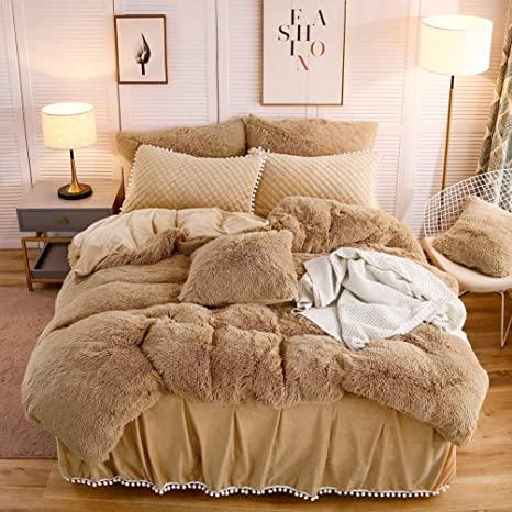 Amazon Com Liferevo Luxury Plush Shaggy Duvet Cover Set 1 Faux Fur Duvet Cover 2 Pompoms Fringe Pillow Shams Solid Zipper Closure Queen Light Beige Bed In 2020