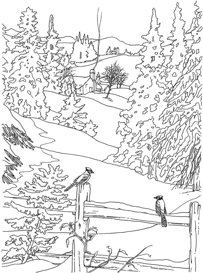 country scenes coloring book coloring page 4 example welcome to dover publications