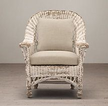 Langtry Wicker Chair  - White...795....31w--32d---40h