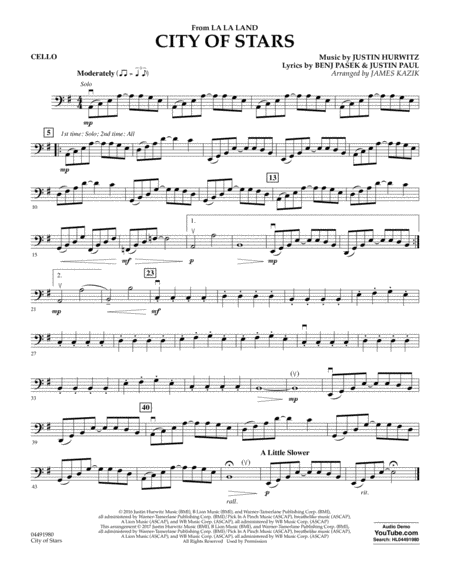 City Of Stars From La La Land Cello Trombone Sheet Music Cello Sheet Music Sheet Music