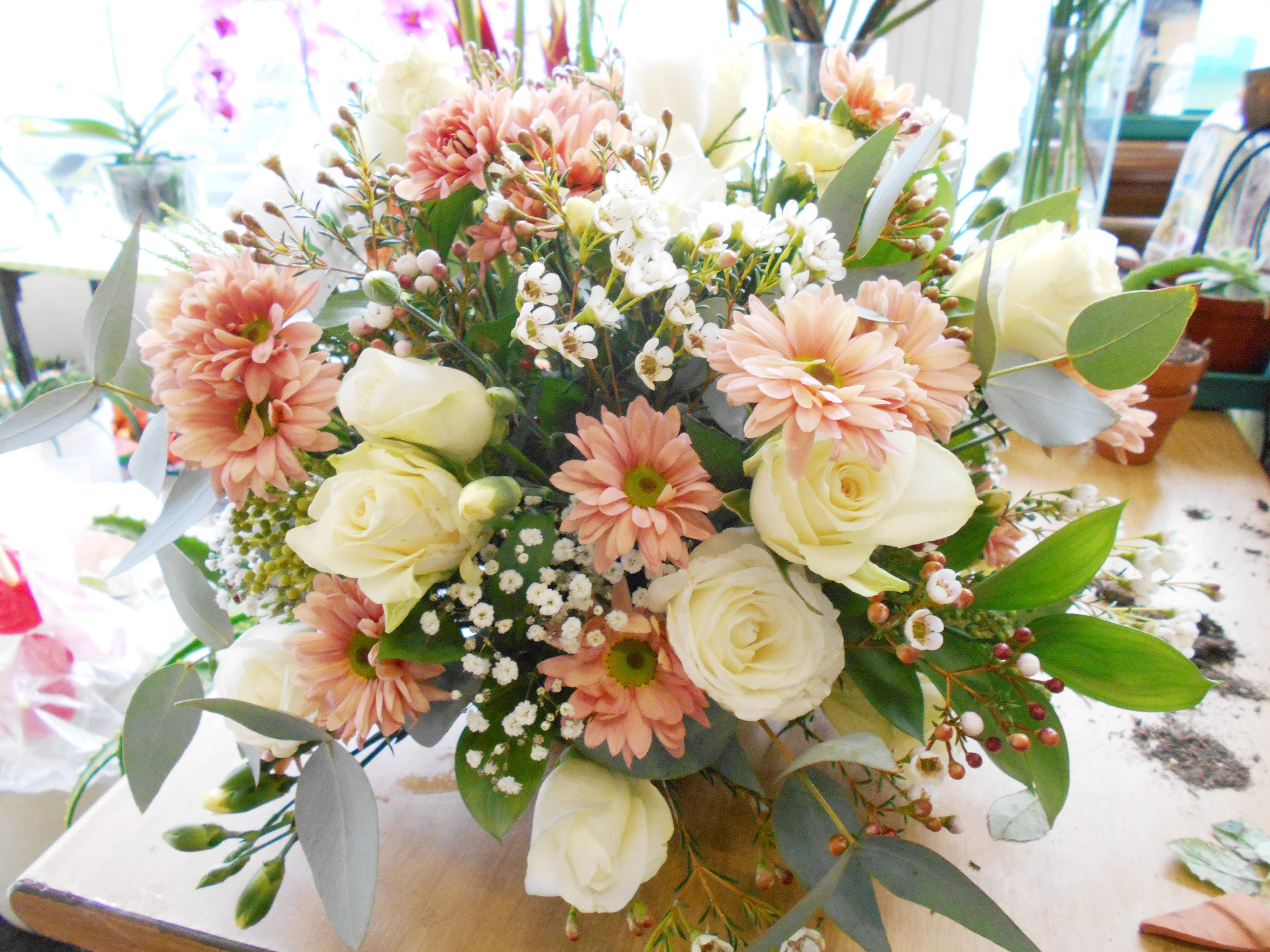 Funeral Flower Arrangement Soft Nude Colors Are The Right Color