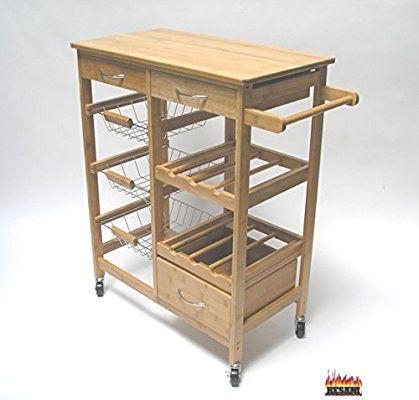Servierwagen FR027 natur Küchenwagen Geschirrwagen Gastronomie Wagen - handtuchhalter für küche
