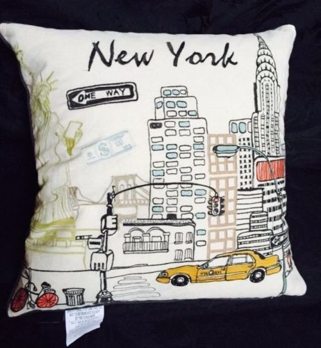 New cynthia rowley new york scene embroidered feather pillow 20x20