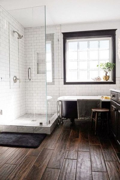 Wood Tiles Bathrooms Remodel Bathroom Design White Subway Tile