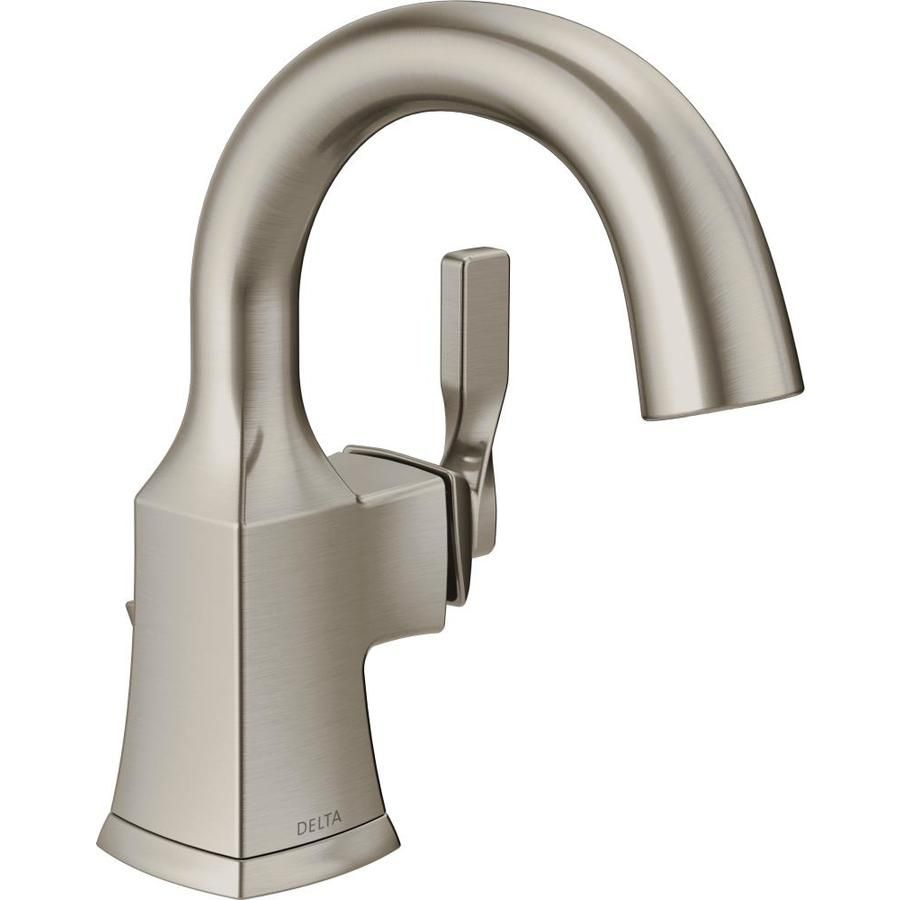 Delta Sawyer Spotshield Brushed Nickel 1 Handle 4 In Centerset Watersense Bathroom Sink Faucet With Drain And Deck Plate Lowes Com Sink Faucets Single Handle Bathroom Faucet Single Hole Bathroom Faucet [ 900 x 900 Pixel ]