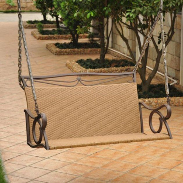 Valencia Resin Wicker Metal Frame Hanging Loveseat Swing