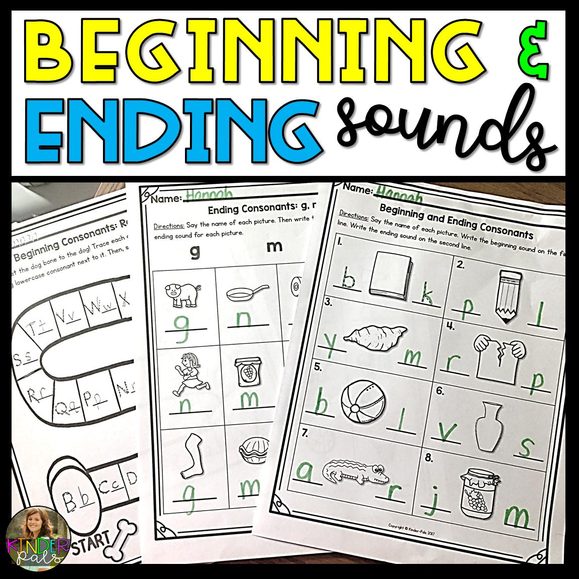 Beginning And Ending Sounds Worksheets From Kinder Pals