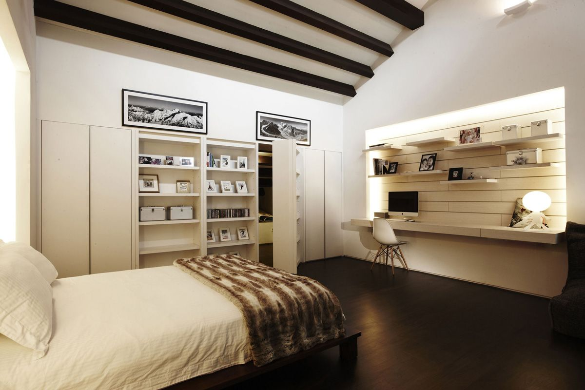 Bedroom, Beams, Shelves, Shop House Renovation In Singapore