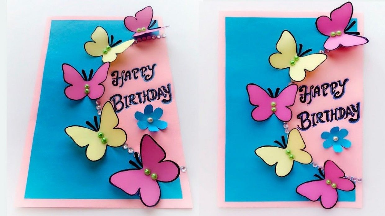 9 Top Image Butterfly Birthday Card In 2021 Butterfly Birthday Cards Diy Birthday Card For Boyfriend Simple Birthday Cards