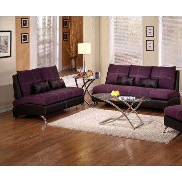 Acme 2 Pieces Jolie Purple Suede Black Pu Sofa And Loveseat Contemporary Bedroom Furniture Best Leather Sofa Furniture