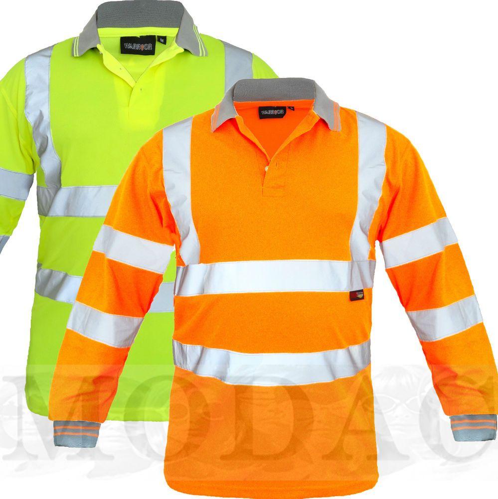 Hi viz vis visibility t shirt polo rugby work long sleeves