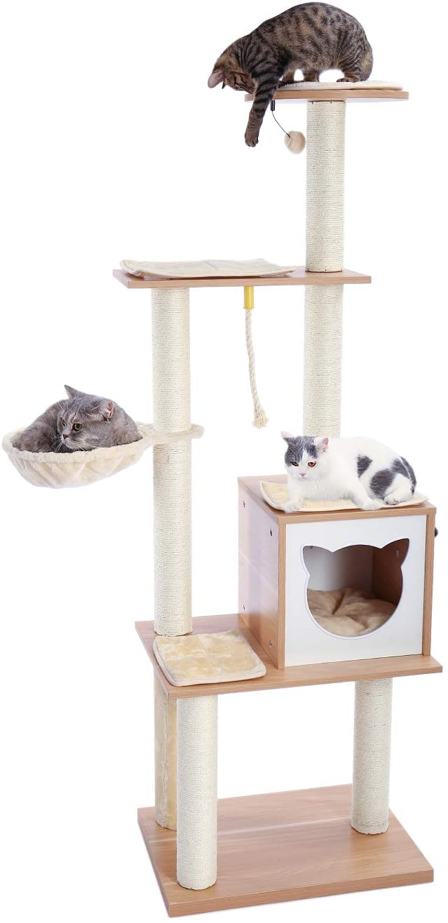 Amazon Com Made4pets 65 6 Inches Modern Cat Tree 6 Levels Cat Tower With Sturdy Scratching Posts Large Condo Sof In 2020 Modern Cat Tree Modern Cat Wooden Cat Tree