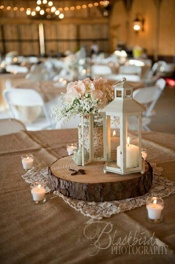 Rustic Lantern Centerpieces Wood Wedding Decorations Table