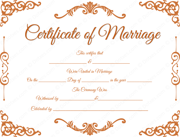 Traditional Corner Marriage Certificate Format For Pdf  Printable