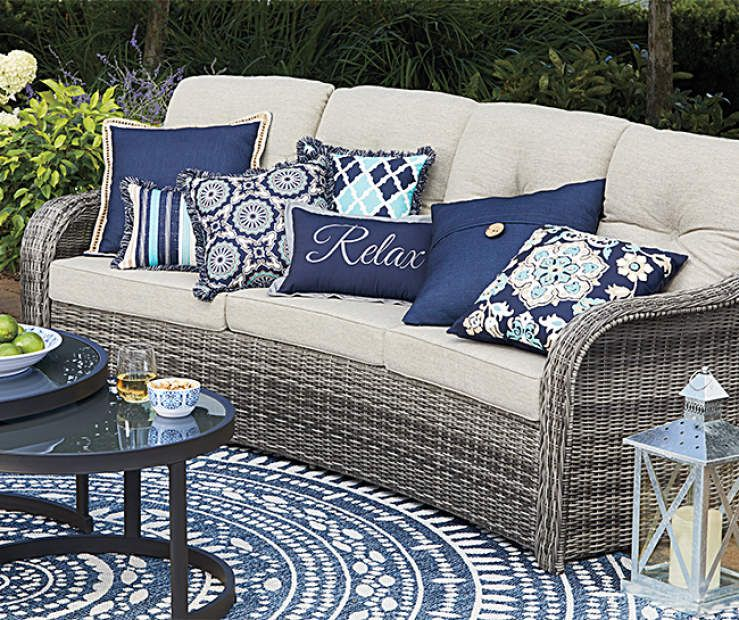 Lakewood Navy Blue Outdoor Throw Pillows Big Lots Blue Patio
