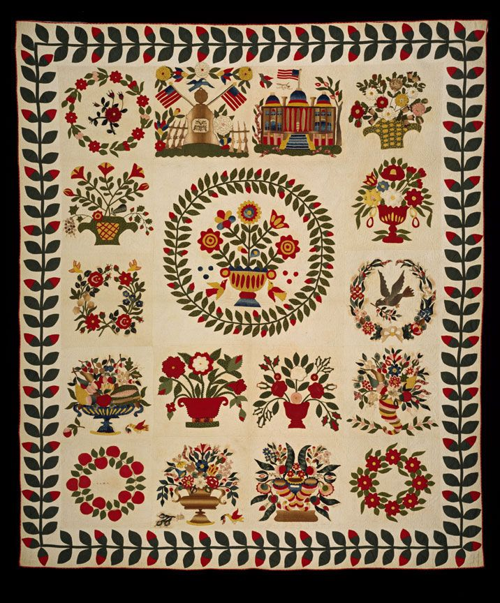 """Quilt. Sarah Anne Wittington Lankford (1830-1898) and others, Baltimore and Princess Anne County, Maryland, ca. 1850. Cotton, ink, wool and cotton embroidery threads, and metal and glass beads. OH 99""""; OW 84."""" Gift of Miss Marsha C. Scott"""