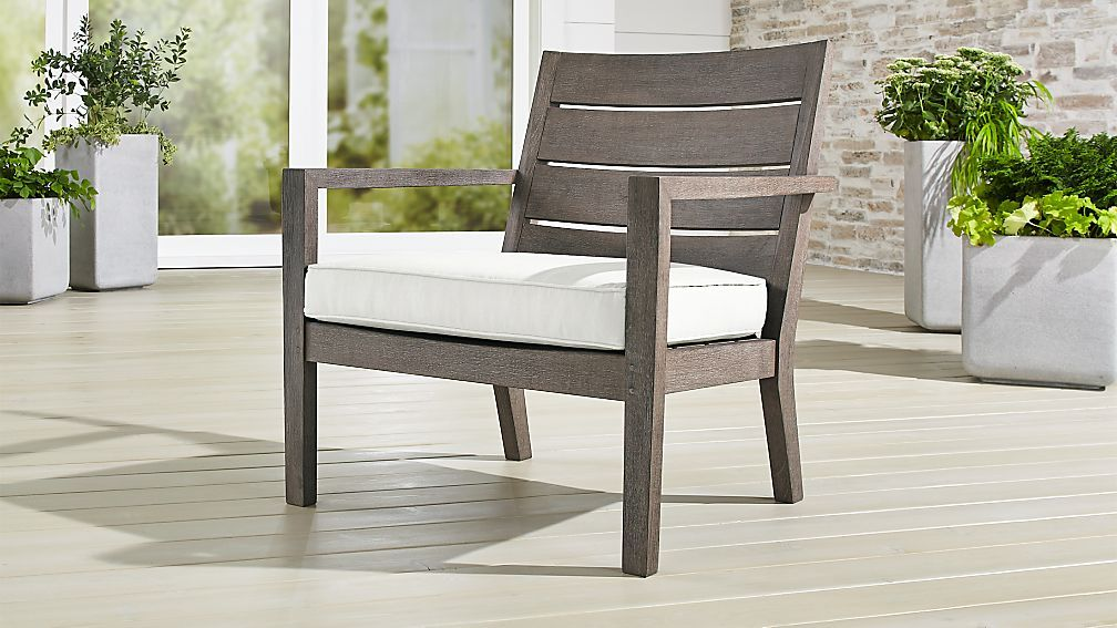 Regatta Grey Wash Lounge Chair With White Sand Sunbrella Cushion
