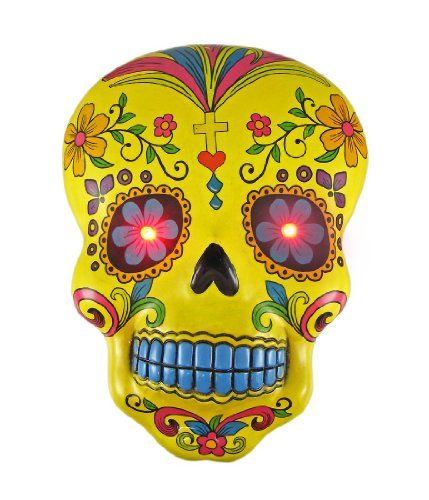Yellow DAY OF THE DEAD Skull Wall Hanging LED Eyes Things2Die4 http ...