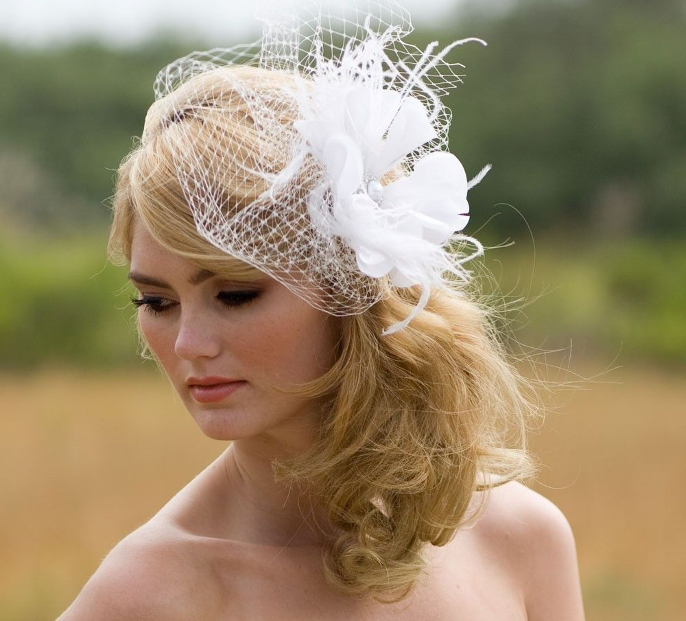 Fine Floral Hair Accessory Ivory Bridal Veil Feather Fascinator Short Hairstyles For Black Women Fulllsitofus