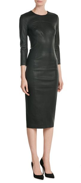 Slip into a sultry leather dress from By Malene Birger for the ultimate in statement appeal. The black color and midi length anchor the impact and make it a modest and elegant choice #Stylebop