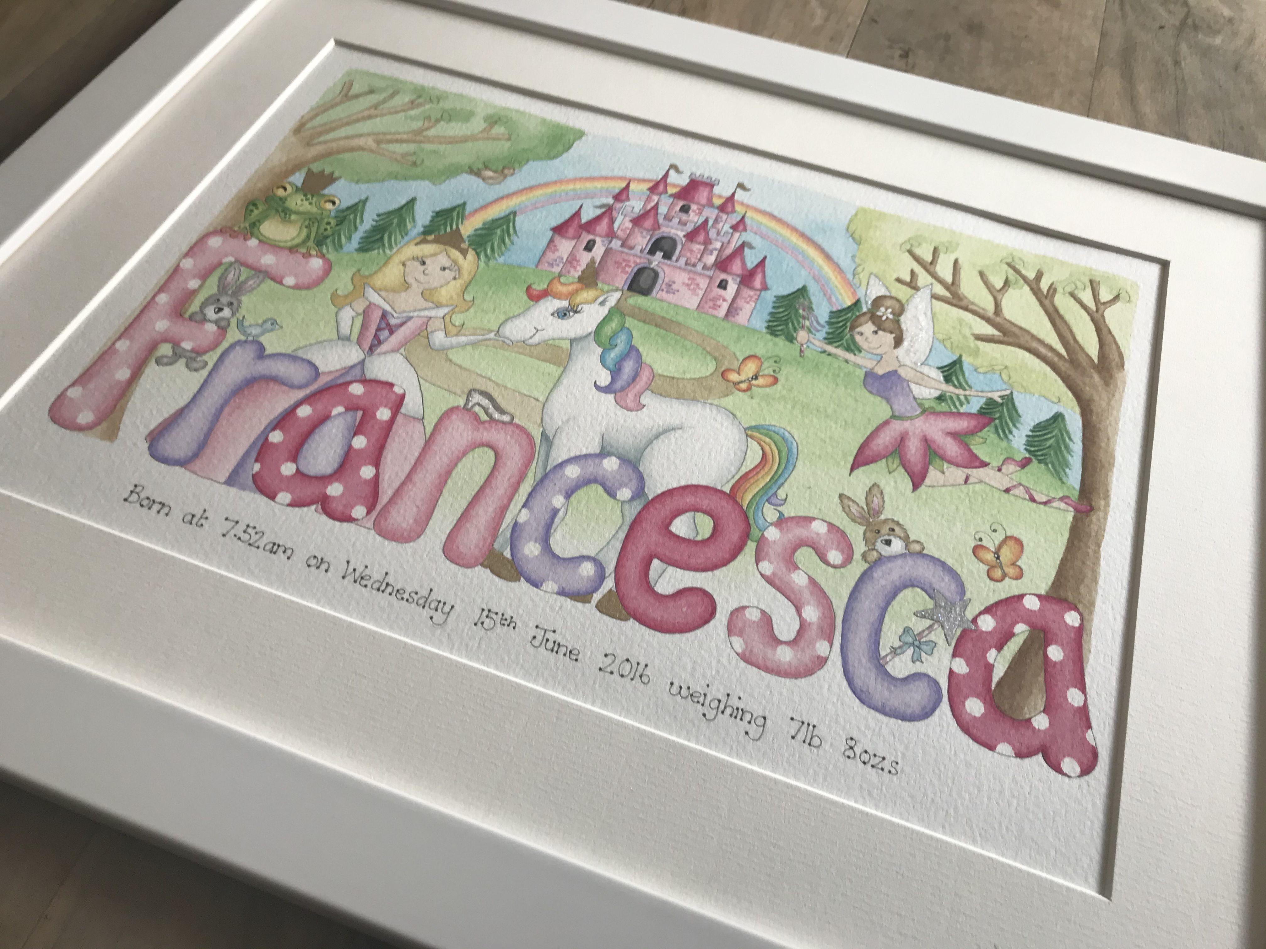Baby Name Illustrations Francesca princess painting ...