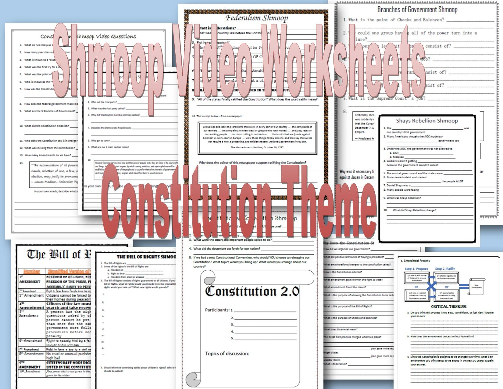 Shmoop Video Worksheets Bundle Of 8 Constitution Themed