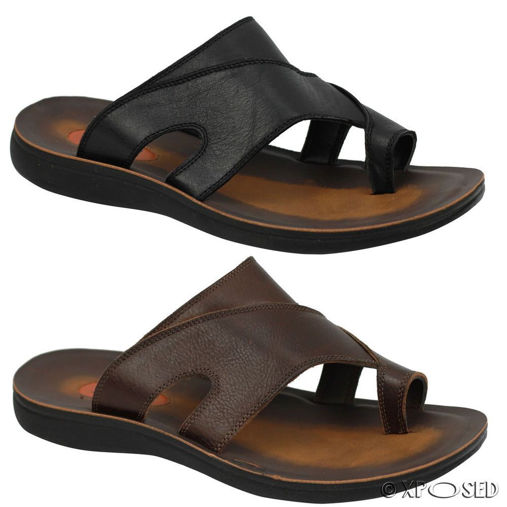 Black sandals holiday - Mens Leather Black Brown Big Size Toe Grip Holiday Sandals Pool Thong Slippers