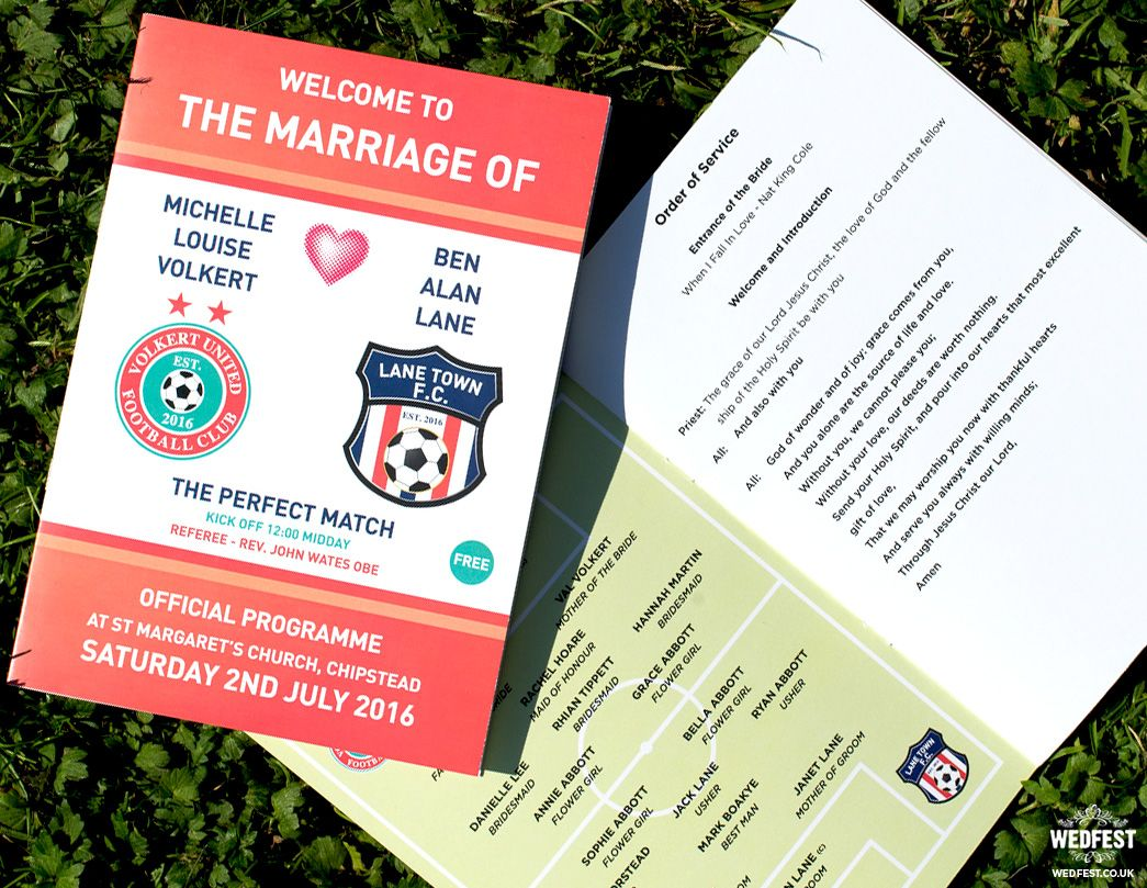 football themed wedding order of service booklets http://www.wedfest ...
