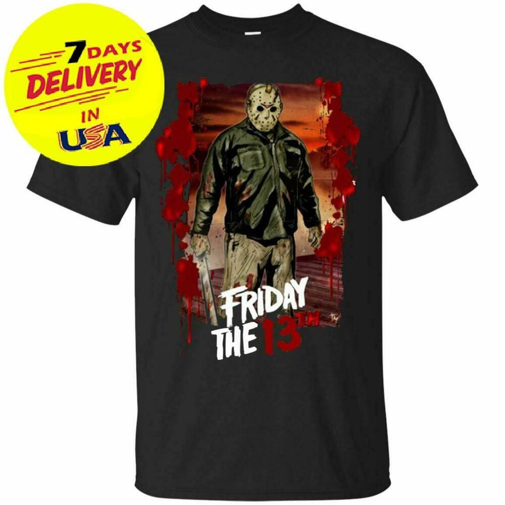 Friday the 13th T-Shirt Jason Voorhees Halloween Horror Scary Movie Men/'s Tee