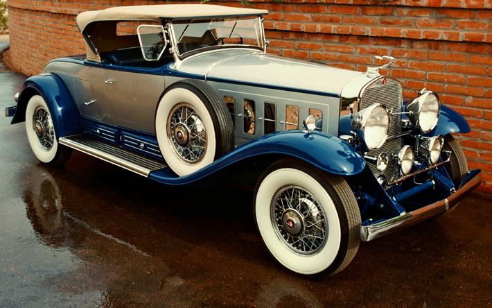 Télécharger fonds d'écran Cadillac V016, voitures classiques, 1930 voitures, voitures rétro, vieille Cadillac, rue de Cadillac besthqwallpapers.com