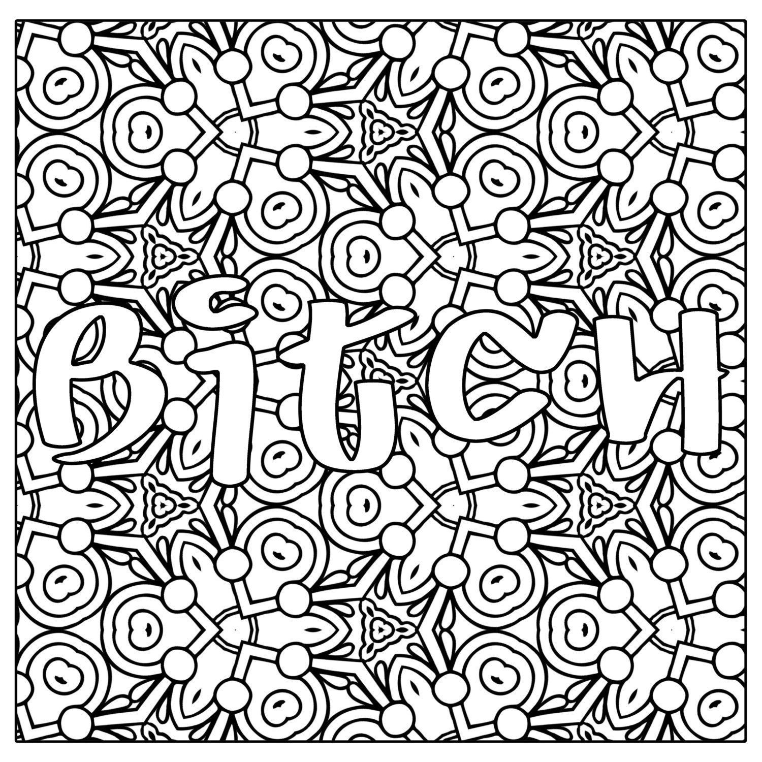 Btch Swear Word Coloring Page JPG Instant by ...