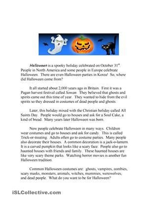 Halloween running dictation story and Quiz | Teaching | Pinterest