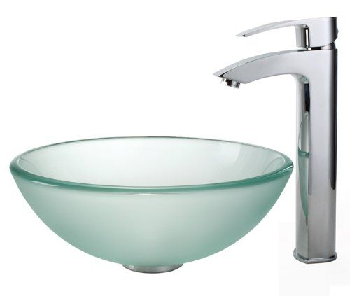 Kraus C GV 101FR 14 12mm 1810CH 14 Inch Frosted Glass Vessel Sink And Visio  Faucet, Chrome Kraus Http://www.amazon.com/dp/B003XHYBZCu2026