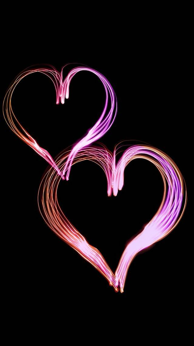 Pink Hearts Black Background Flowery Wallpaper Heart Wallpaper Iphone Background