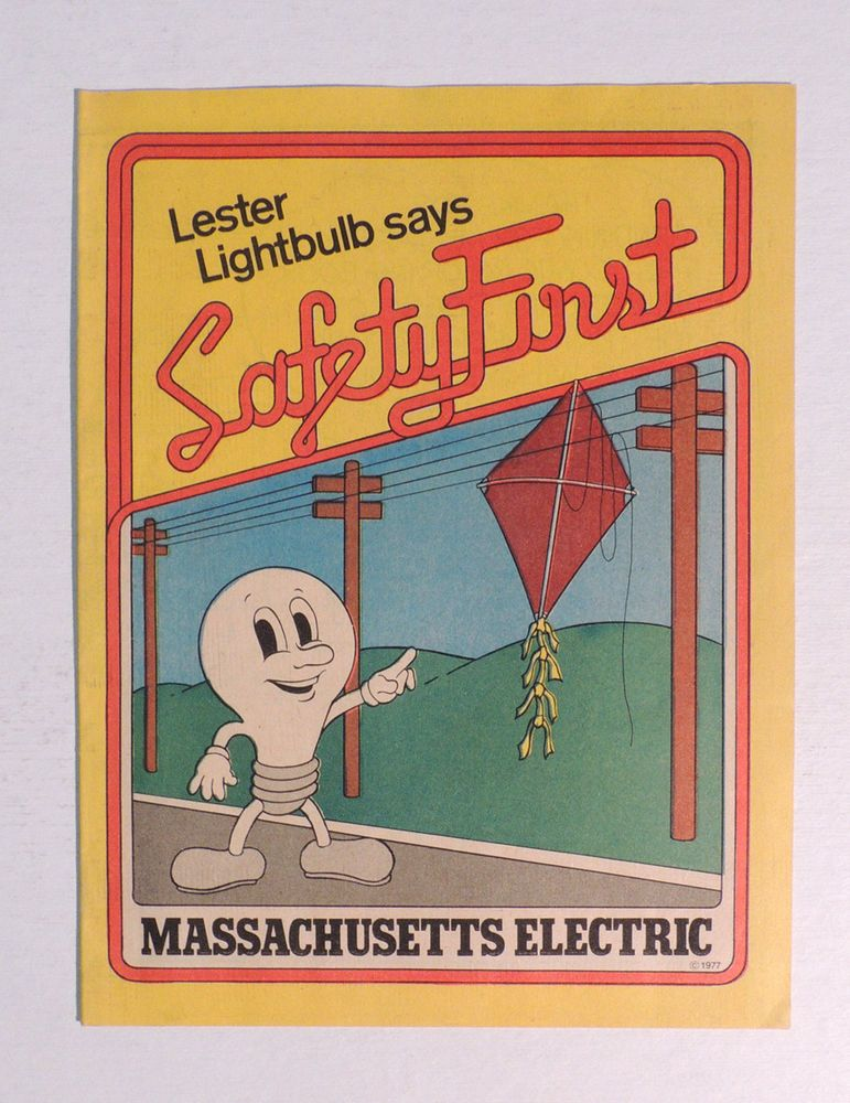 T650 Massachusetts Electric LESTER THE LIGHTBULB Safety First Coloring Book 1977 In Books Children