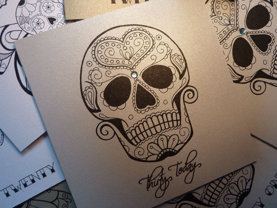 Sugar Skull 30th Birthday Card £2 70 Via Etsy Tattoos