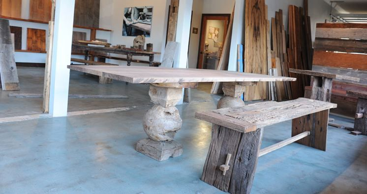 Two great green choices for reclaimed wood bench & table