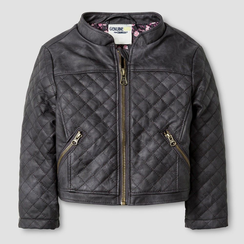 Baby Girls' Quilted Moto Jacket Grey 12M - Genuine Kids from Oshkosh, Infant Girl's, Size: 12 M, Gray